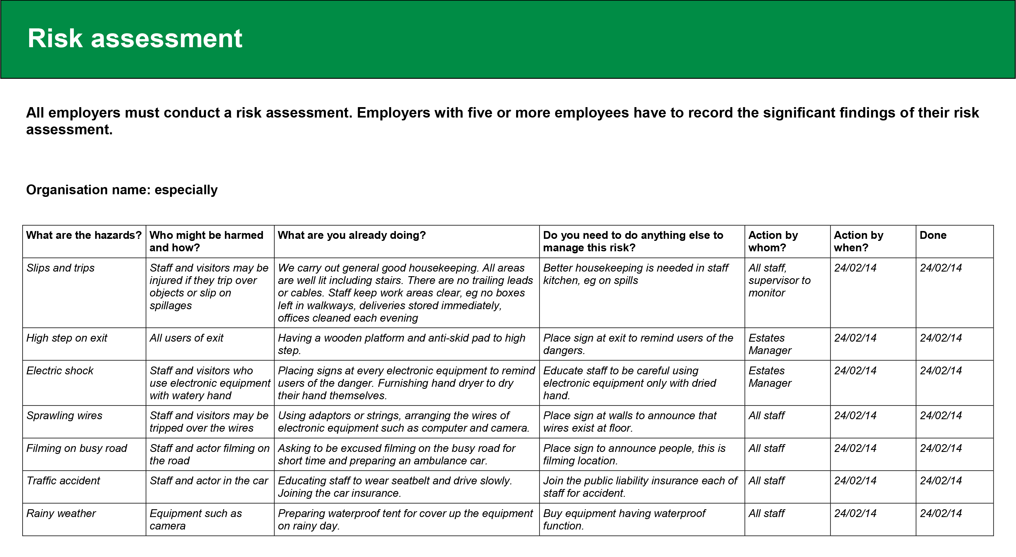 electricians risk assessment template - risk assessment especiallyoo